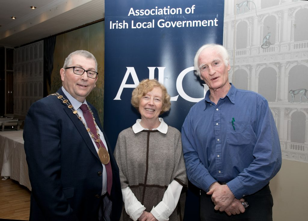 4TH MARCH 2020, THE LONGFORD ARMS HOTEL, CO. LONGFORD  L:R Cllr. Mick Cahill, Guest speaker Andrew Duncan, Cllr. Anne Colgan, at the AILG Annual Conference