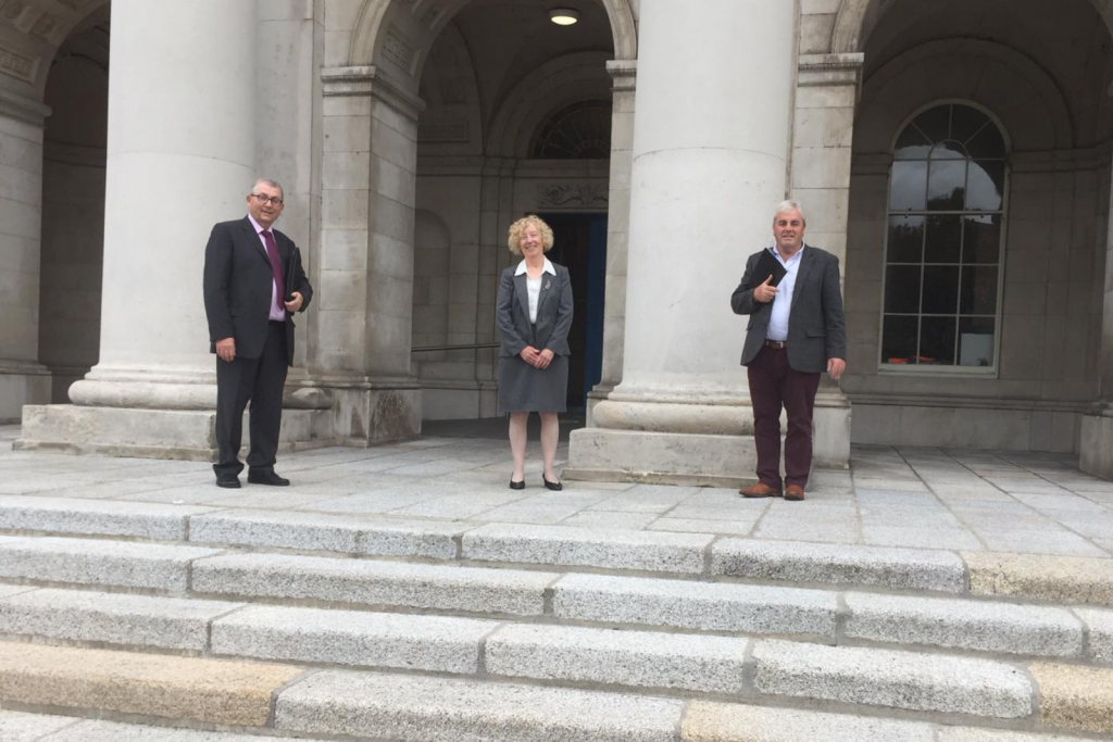 29th July 2020 Government Buildings on Upper Merrion StreetAILG President Cllr. Mick Cahill, Vice President Cllr. Anne Colgan and Cllr. Thomas Mulligan before meeting with Minister Peter Burke TD in relation to the Moorhead Report.
